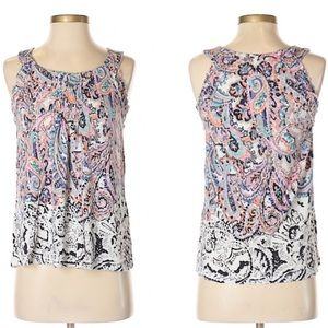 Meadow Rue | Sleeveless Paisley Print Tank A23